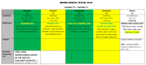 Homecoming Week Schedule Picture